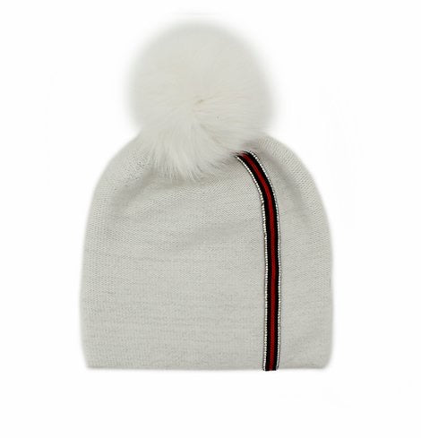 White Stripe Knitted Hat with Fox Pom Pom