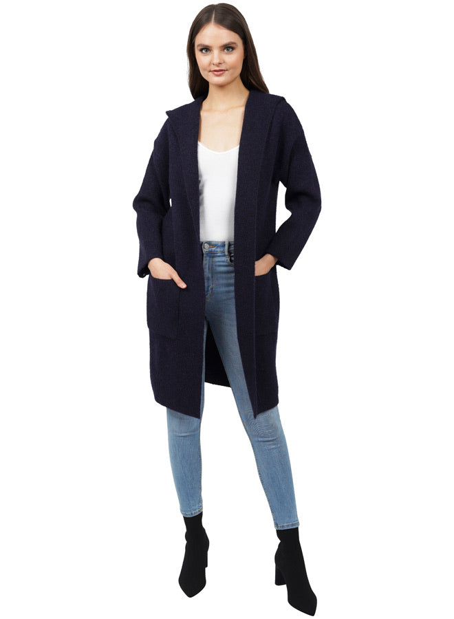 Navy Blue Classic Hooded Cardigan