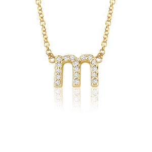 Petite 14K Gold and Diamond Lower case Initial