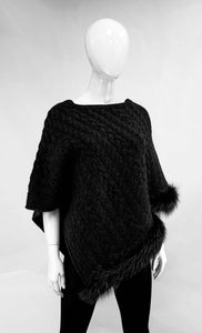 Black Cable Knit Poncho with Fox trim detail