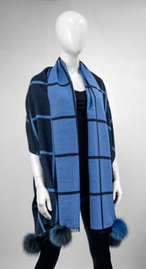 Navy and Marine Blue Woven Scarf with Fox Poms