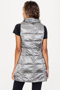 Anorak Platinum Long Metallic Down Vest