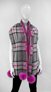 Pink and Grey designer plaid Viscose Scarf with Fox Poms.