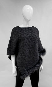 Charcoal Cable Knit Poncho with Fox Fur Trim