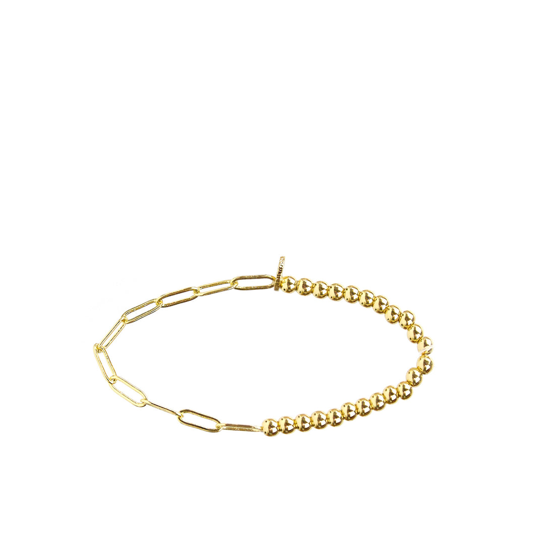 Small Gold Metal Link and Bead Bracelet