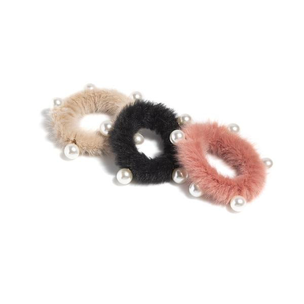 Fuzzy Fur and Pearl Elastic Hair ties
