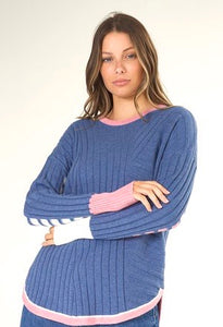 Denim Blue and Pink Soft Sweater