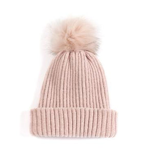 Blush Pink Cozy Hat with Fur Puff
