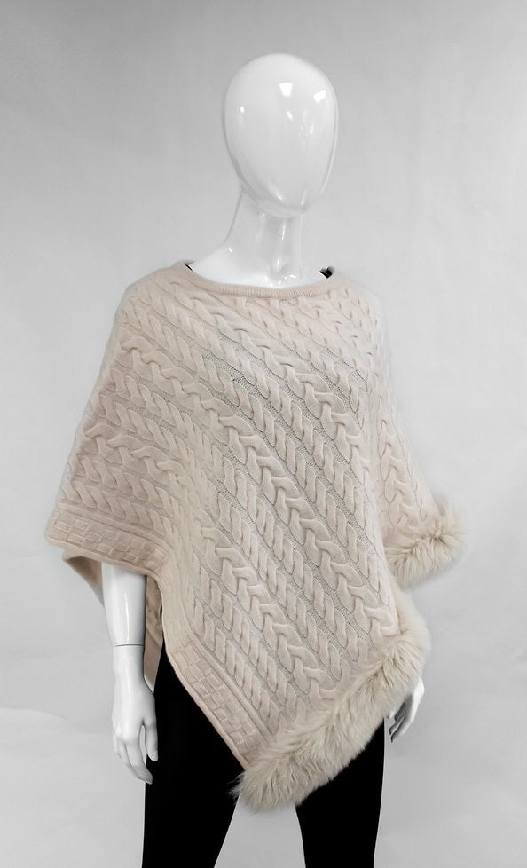 Pearl Cable knit Poncho with Fox trim detail