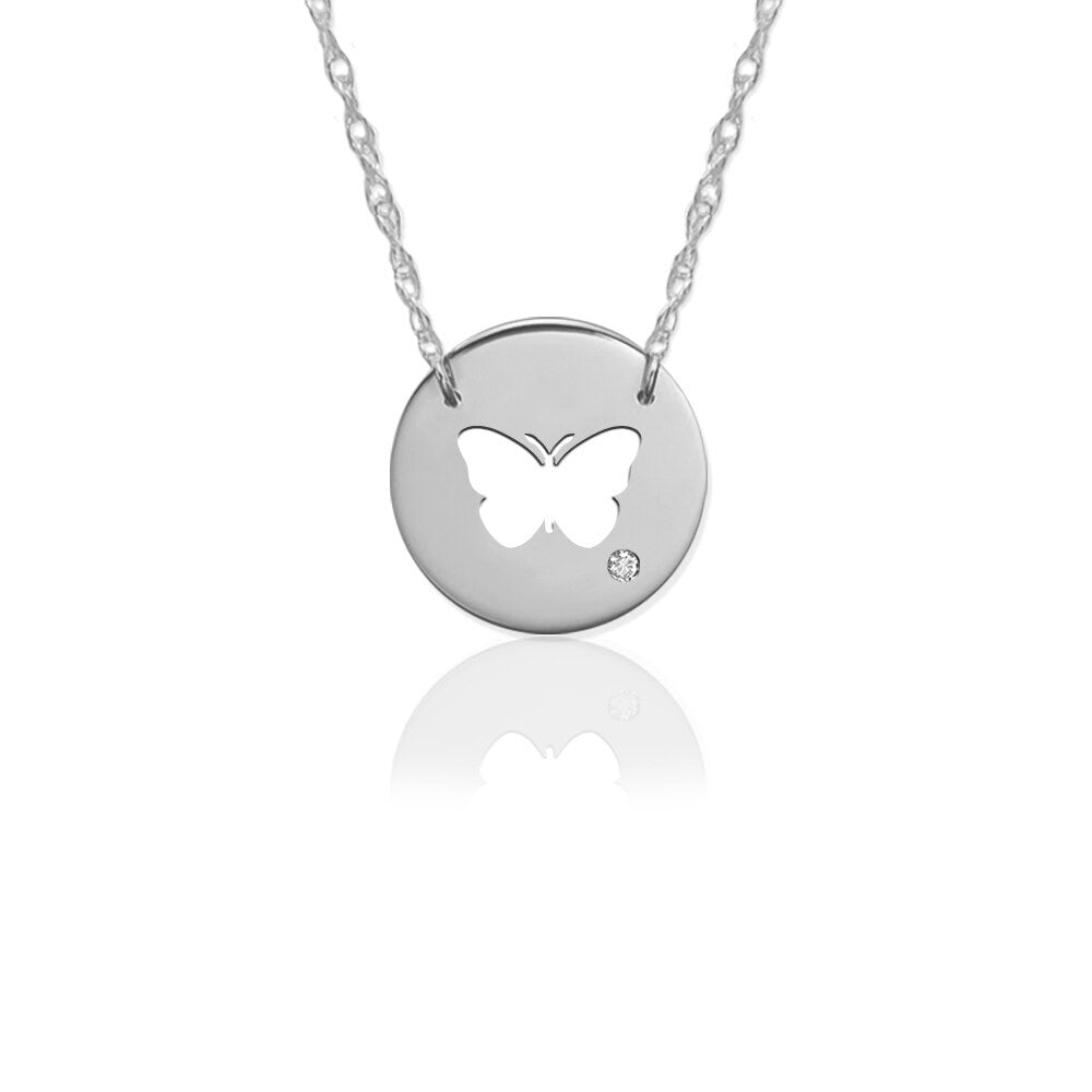 Butterfly Disc Icon with Diamond Accent