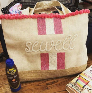 Hamptons Monogrammed Canvas and Beaded Summer Bag