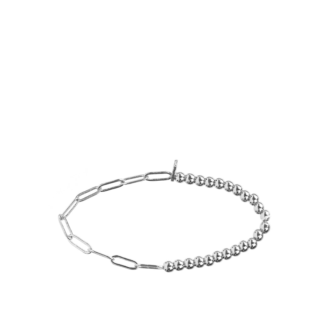 Silver Metal Bead and Link bracelet