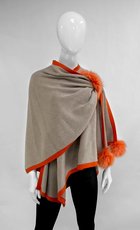 Beige and Orange Knit Wrap with pull through and Fox Poms