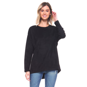Black Suede Crew neck Top with Long Sleeves