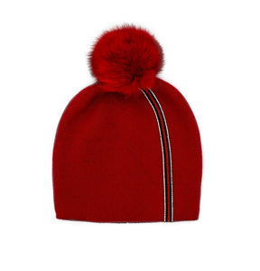 Red Striped Knitted Hat with Fox Pom Pom
