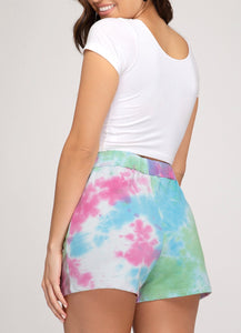 Blue and Pink Tie Dyed Shorts