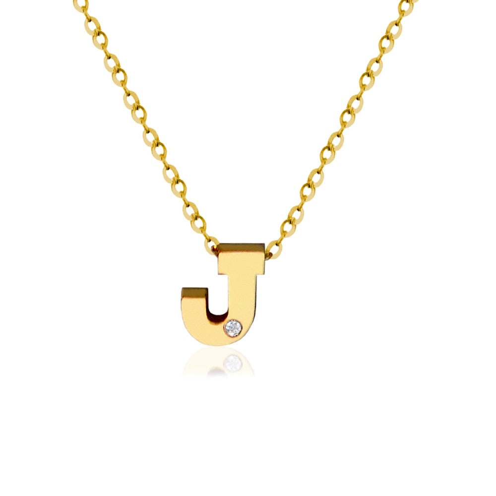 14KT Gold Block Initial with Diamond Accent