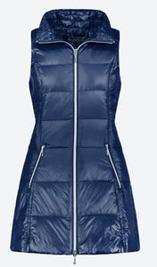 Anorak Long Nylon Down Vest in Navy