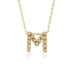 Single Initial Micro Pave Diamond Necklace