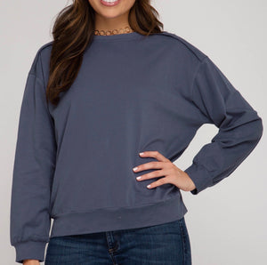 Denim Blue Soft Knit Sweatshirt