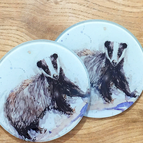 Glass Coaster - Mr Badger