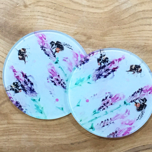 Glass Coaster - Beeing Around Lavender