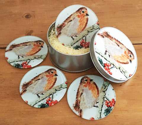 Coaster Gift Set - Berry Robin