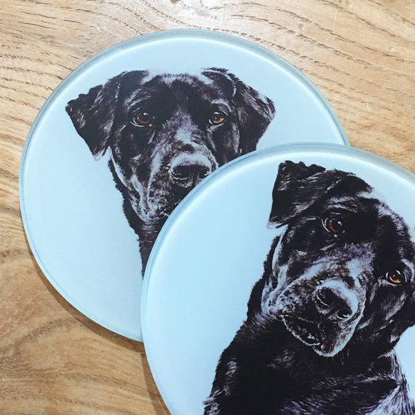 Glass Coaster - Black Labrador
