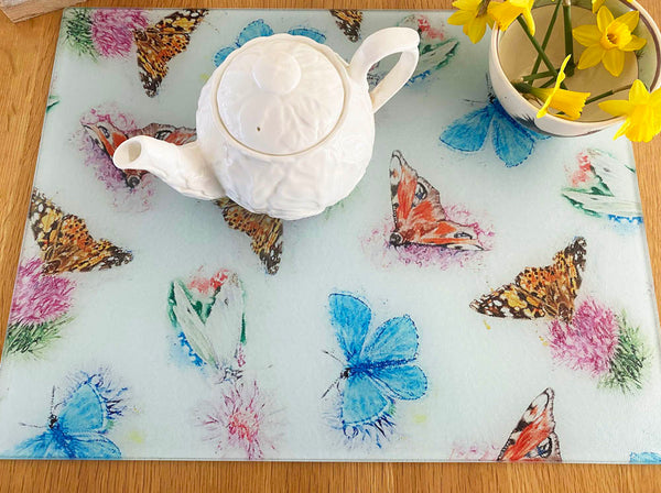 Glass Chopping Board - Country Butterflies
