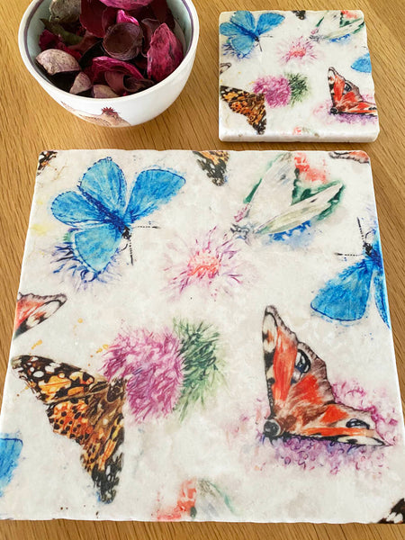 Marble Coaster - Country Butterflies