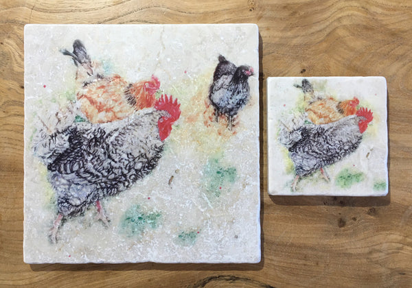 Small Trivet - Foraging Hens