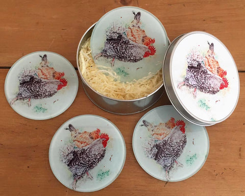 Coaster Gift Set - Foraging Hens