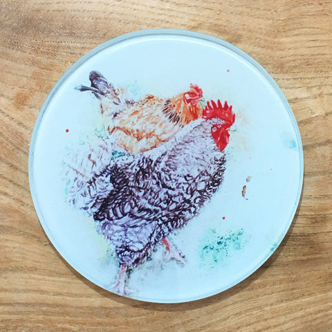 Glass Coaster - Foraging Hens
