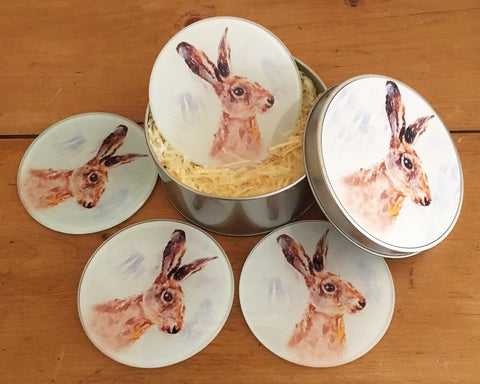 Coaster Gift Set - Hare Portrait