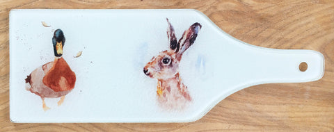 Glass Bottle Chopping Board - Hare and Duck