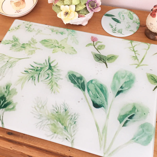 Glass Chopping Board - Herb Garden