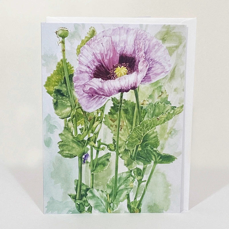Greetings Card - Lilac Poppy