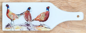 Glass Bottle Chopping Board - Pheasant Bouquet