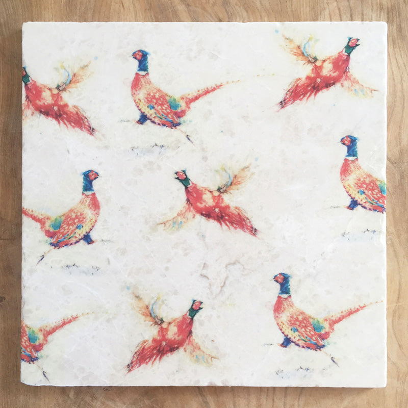 Large Trivet - Pheasants Repeating
