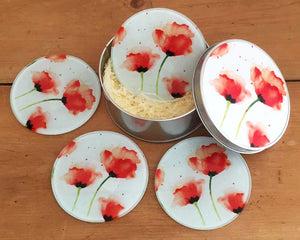 Coaster Gift Set - Red Poppies