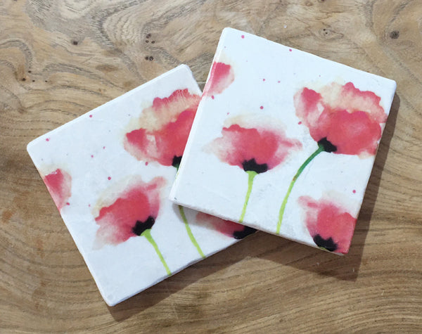Marble Coaster - Red Poppies