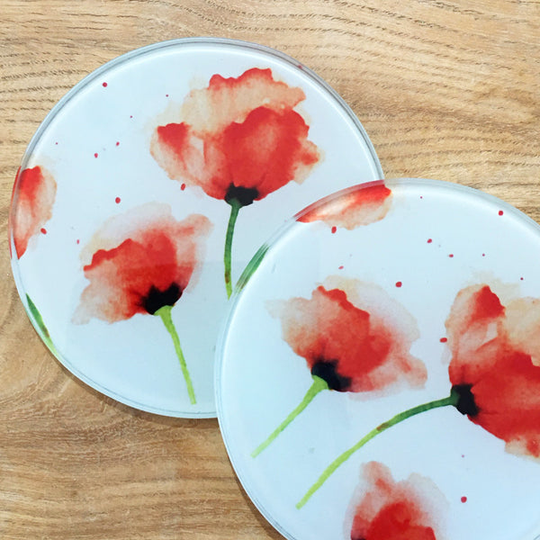 Glass Coaster - Red Poppies