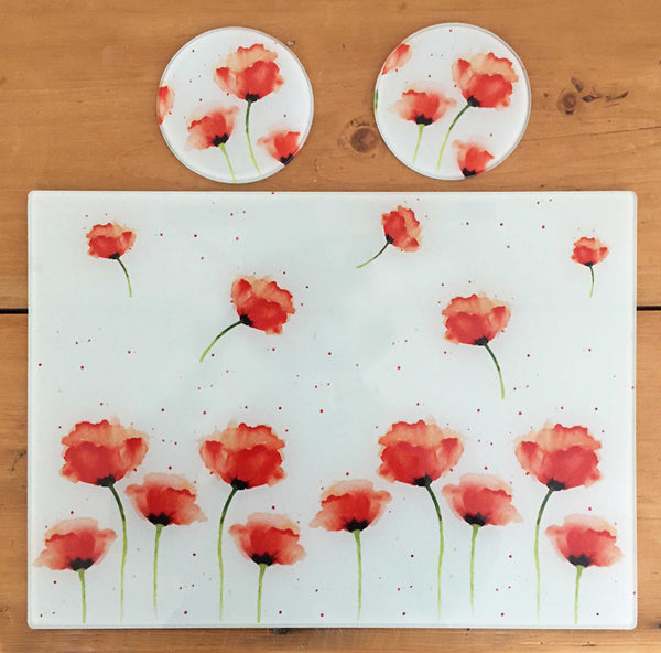 Glass Chopping Board - Red Poppies