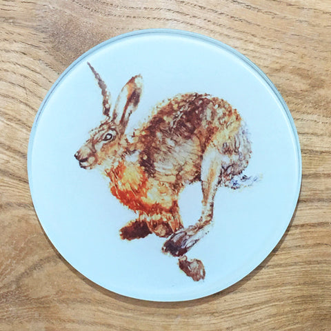Glass Coaster - Running Hare