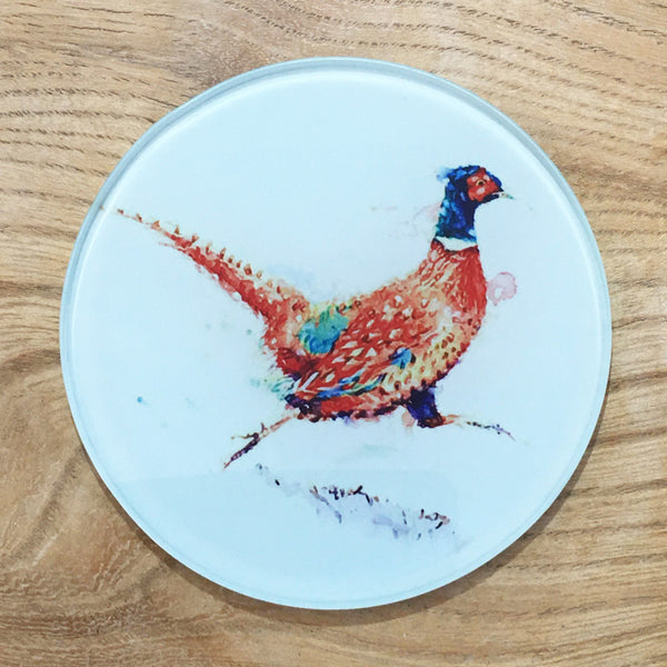 Glass Coaster - Running Pheasant