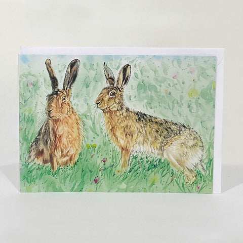 Greetings Card - Summer Hares