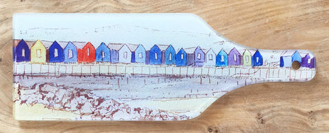 Glass Bottle Chopping Board - Beach Huts