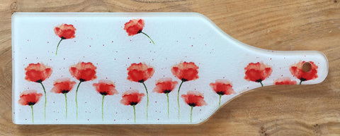 Glass Bottle Chopping Board - Red Poppies