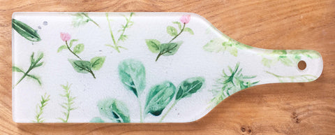 Glass Bottle Chopping Board - Herb Garden
