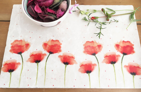 Small Sharing Board - Red Poppies